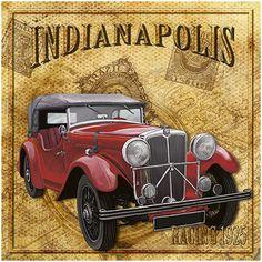 Carros Retro, Carros Vintage, Retro Cars, Vintage Cars, Antique Cars, Old Garage, Garage Art, Car Illustration, Illustrations