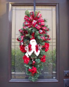 Christmas Swag Santa Wreath Santa Christmas Wreath by LuxeWreaths Christmas Swags, Santa Christmas, Country Christmas, Christmas Decorations, Santa Wreath, Holiday Wreaths, Winter Wreaths, Holiday Crafts, Holiday Ideas