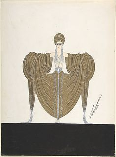 """""""Le Luxe"""" Costume Design with Beaded Bodice, Gold Turban and Yards of Skirt Draped over the Arms for """"L'Or,"""" Ziegfield Follies Erté (Romain de Tirtoff) (French (born Russia), St. Petersburg 1892–1990 Paris) Date: 1923"""