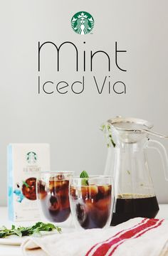 Mix 1 packet VIA Instant Iced Coffee with 16 oz. cold water. Put a handful of torn mint leaves in a strainer, and place it over a tall glass filled with ice. Pour VIA Instant Iced Coffee over the mint into the glass. Add milk, sugar, and more mint to taste.