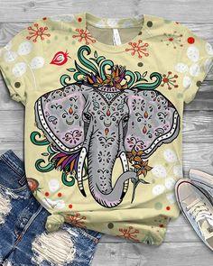 Short Sleeve Blouse, Long Sleeve Tops, Purple Animals, Blouses For Women, T Shirts For Women, Loungewear Set, Elephant Print, Basic Tops, Latest Fashion Trends