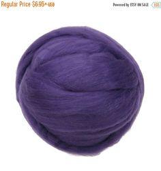 SALE Merino Silk Roving Violet- Vibrant Color Mulberry Wool Silk Blend Fiber for Spinning & Felting