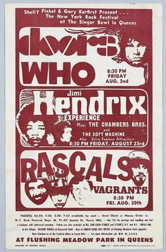 Doors, Jimi Hendrix, The Who, Rascal Super Bowl Concert Poster - Flushing Meadow Tour Posters, Band Posters, Pop Rocks, Rock Vintage, Vintage Concert Posters, Jimi Hendrix Experience, Rock Festivals, We Will Rock You, Rock Concert