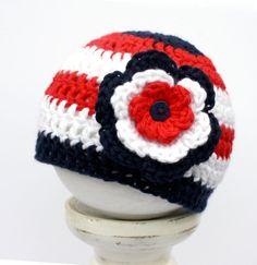 Patriotic Baby Girl Crochet Beanie in Red by upinthefarawaytree, £8.00