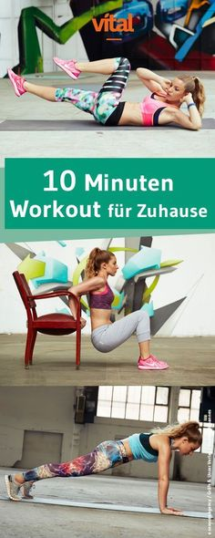 10 minutes workout at home 10 Minuten Workout für Zuhause These exercises are tough, they take up the whole body, but work quickly and effectively. With our daily 10 minute workout you will get fit, build muscle and lose weight in no time. Fitness Workouts, Tips Fitness, Sport Fitness, Fitness Nutrition, Yoga Fitness, At Home Workouts, Fitness Motivation, Trainer Fitness, Sport Motivation