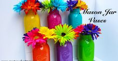 Create ~ Cook ~ Capture: Tutorial: How To Paint A Mason Jar Mason Jar Vases, Mason Jar Centerpieces, Mason Jar Gifts, Mason Jar Diy, Jar Crafts, Diy And Crafts, Trolls Birthday Party, Troll Party, Fiesta Theme Party