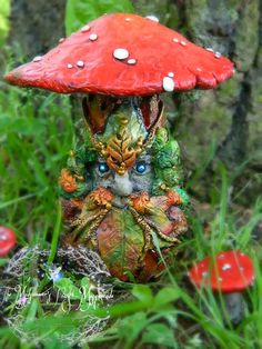 """The Autumn Greenman Mushroom"" -handsculpted using Original Sculpey polymer clay."