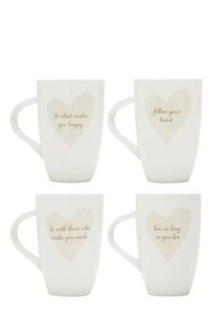 Buy 4 Pack Heart Sentiment Mugs from the Next UK online shop