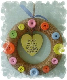 These wall decorations will look lovely as a home decoration,or as a wedding decoration. We use styrofoam an wrap with twine we then add lots of colourful buttons big and small If you would like a large order for your wedding then please inbox me . Fun Crafts For Kids, Toddler Crafts, Crafts To Make, Arts And Crafts, Birthday Crafts, Birthday Decorations, Wedding Decorations, Birthday Presents For Mum, Gifts For Mum
