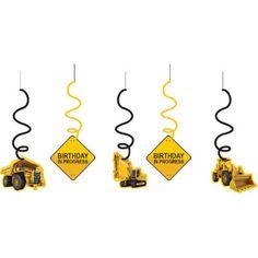 Birthday Construction Zone Dangling Swirls | 12 ct