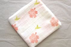 Muslin Swaddle baby blanket tropical hibiscus and humming bird Muslin Blankets, Muslin Swaddle Blanket, Baby Swaddle, Stroller Blanket, Coral Orange, Girl Nursery, Hibiscus, Hand Stamped, Sewing Projects