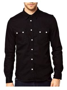 Black Casual Shirt with Stylish Buttons