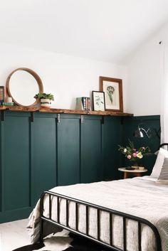 green wainscot kids room - Google Search