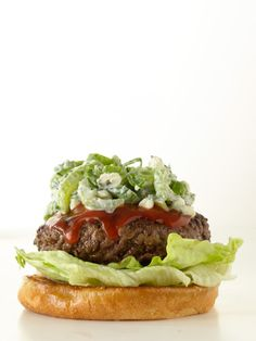Buffalo burger—with buffalo sauce, celery slaw and a perfectly cooked patty. #recipes