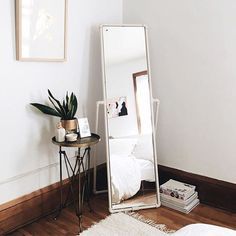 Home decor inspiration cute little corner bedroom mirror home inspiration house living space room inviting style Bedroom Corner, Home Bedroom, Bedroom Decor, Bedroom Mirrors, Bedroom Ideas, Master Bedrooms, Wall Mirrors, Bath Decor, Bedroom Apartment