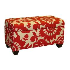 Blossoms Storage Bench in Cherry