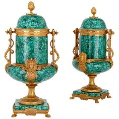 Pair of Malachite and Gilt Bronze Lidded Urns