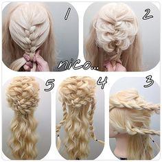 Coiffure_Design_People_Crystals_Hairstyle_Beauty_ 编发 _Avatar_Wallpaper_Tutorial Source by arwenarial Fancy Hairstyles, Braided Hairstyles, Wedding Hairstyles, Fancy Braids, Joanna Krupa, Hair Arrange, Pinterest Hair, Crazy Hair, Hair Art