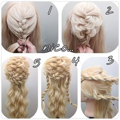 複雑そうに見えますがわりと簡単です! 1 裏編み込みします! 2 ちらします! 3 両サイド2つロープ編みです! 4 まず上をクロス。ピンでとめます毛先はなかに隠します! 5 またまたクロスあとは下を波ウェーブで完成です!また全体のバランスみて散らしてください(o^^o) #nico#hairarrange#撮影#ヘアスタイル#スタイル#美容室 #ヘアアレンジ#アップスタイル #アレンジ#アップスタイル #ニコ#結婚式#結婚式アップ#オシャレ#ヘアセット#くるりんぱ#アレンジ解説#ヘアアレンジ解説#ヘアアレンジnico