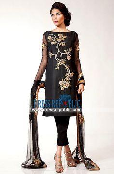 Fahad Hussayn Black Dress 2015 Collection