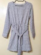韓國宮庭復古高貴風藍色格子收腰連衣裙/連身裙 Size:Free 100000%new 購至:韓國
