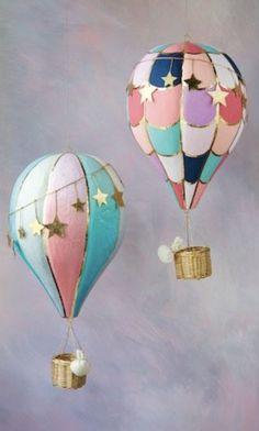 Hot Air Balloon, Set of 2 - Glitterville Studios Hot Air Balloon Paper, Diy Hot Air Balloons, Hot Air Ballon Diy, Nursery Hot Air Balloon, Paper Mache Balloon, Hot Air Balloon Centerpieces, Balloon Decorations, Shower Centerpieces, Paper Mache Projects
