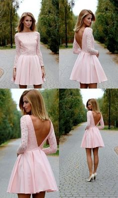 Unique Prom Dresses, Pink lace Homecoming Dress, Sexy Mini Long Sleeves Party Dress, Deep V back backless Club Dresses, There are long prom gowns and knee-length 2020 prom dresses in this collection that create an elegant and glamorous look Club Dresses, Sexy Dresses, Short Dresses, Prom Dresses, Wedding Dresses, Dress Long, Dress Prom, Event Dresses, Long Sleeve Homecoming Dresses