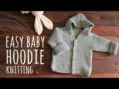 Tutorial Easy Baby Knitting Hoodie Cardigan - Video Tutorial NOTES: Work the garter stitch in all the pattern (all stitches work the knit Months - Baby Knitting Free, Knitting Patterns Boys, Baby Cardigan Knitting Pattern, Hoodie Pattern, Crochet Jacket, Knitting For Kids, Baby Patterns, Crochet Cardigan, Crochet Diy