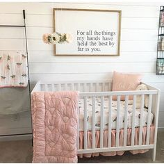 Pinks, florals and shiplap (oh, my!) So many heart eyes for this sweet space. Image by Pinks, florals and shiplap (oh, my!) So many heart eyes for this sweet space. Baby Bedroom, Nursery Room, Girl Nursery, Nursery Decor, Nursery Ideas, Blush Nursery, Room Ideas, Wall Decor, Room Decor