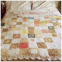 "Inspiration :: Spring Blanket, crocheted by Nicky Miranda in cotton for warm weather. 15 different squares but no specific patterns; some are from ""200 Crochet Blocks for Blankets and Throws"" by Jan Eaton.  . . . .   ღTrish W ~ http://www.pinterest.com/trishw/  . . . .   #afghan #throw"