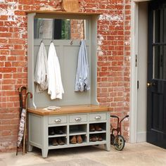 Caldecote Hall Tid, Hall Stand, Hall Bench, Hallway Furniture, Brick Wall, Coat Stand, Wall Hooks, Olive Green Painted Furniture, Country Home, Country Interiors