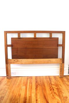 Vintage midcentury headboard wood single twin bed by PourToujours
