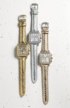 MICHELE 'Deco Diamond' Diamond Dial Two Tone Watch Case | Nordstrom