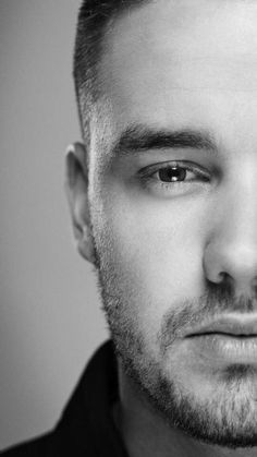 Imagen de liam payne, one direction, and black and white