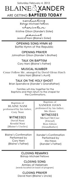 Baptism Program for my nephew.