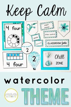 Calming watercolors is the theme for this elementary classroom or resource room decor set. Functional visuals and learning tools are included all in peaceful shades of blue. From Positively Learning Blog #watercolorclassroom #resourceroom