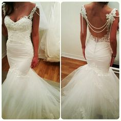 Perfection! The pearls were the icing on the cake for this sexy backless wedding dress by Whyte Couture.