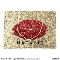 Name Red Kiss Lips Glitter Champagne Gold Glam Large Gift Bag Custom Gift Bags, Customized Gifts, Glitter Home Decor, Large Gift Bags, Artwork Design, Branding Design, Champagne, Unique Gifts, Kiss
