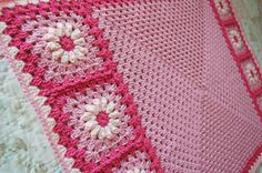 Pink Flower Granny Square Afghan for baby