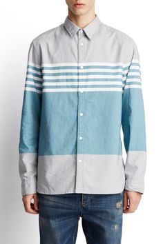 EDUN - long sleeve engineered stripe shirt