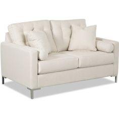 Wayfair Custom Upholstery Harper Loveseat with Metal Legs Upholstery: Spinnsol Greystone