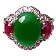 Stunning Jadeite Jade Ruby Diamond Platinum Ring
