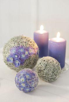 Oasis dekorert med høstlyng, sølvkrans, sølvtråd og orkide gir et vakkert og høstlig preg på bordet.
