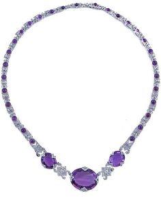 Amethyst, diamond and platinum necklace, circa 1910. #BelleEpoque #Edwardian #necklace