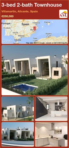 Townhouse for Sale in Villamartin, Alicante, Spain with 3 bedrooms, 2 bathrooms - A Spanish Life Valencia, Portugal, Alicante Spain, Residential Complex, Ground Floor, Townhouse, Terrace, Entrance, New Homes