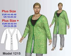 Cardigan PDF Sewing Pattern, Women's Plus sizes 18-28. Cardigan Pattern