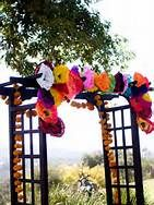 wedding-ceremony-gazebo-decorated-with-paper-flowers-mexican-theme-wedding.in case we need to relocate ceremony to face another way in lawn just an idea Wedding Ceremony, Our Wedding, Wedding Stuff, Wedding Gazebo, Ceremony Arch, Wedding Prep, Wedding Blog, Mexican Paper Flowers, Mexican Themed Weddings
