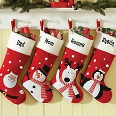 "snowman felt stockings - to make just a photo **** Item Description: A Personal Creations Exclusive! Pick your favorite from 4 friendly winter characters: Santa, Penguin, Snowman or Reindeer. We embroider our soft felt stockings with any name, up to 9 characters. Measures 18""L."