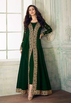 bottle Green Anarkali zari Embroidery kameez custom made dress ethnic unstitched suit material indian womens wear Pakistani shalwar Dark bottle Green Anarkali zari Embroidery kameez custom made dress ethnic unstitched suit material Pakistani Fashion Party Wear, Pakistani Dresses Casual, Indian Party Wear, Pakistani Dress Design, Indian Fashion, Stylish Dresses, Fashion Dresses, Floral Fashion, Suit Fashion