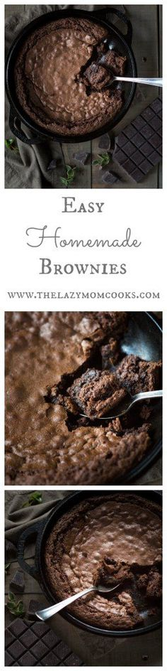 Easy Homemade Brownies made in your favorite cast iron skillet! Super simple ingredients and easy to whip up!